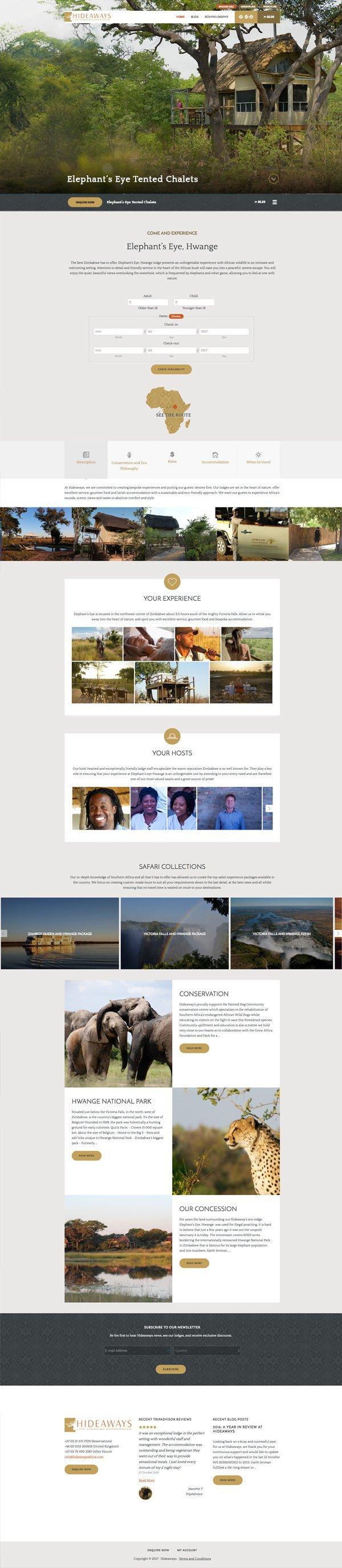 Hideaways Africa website redesign 2