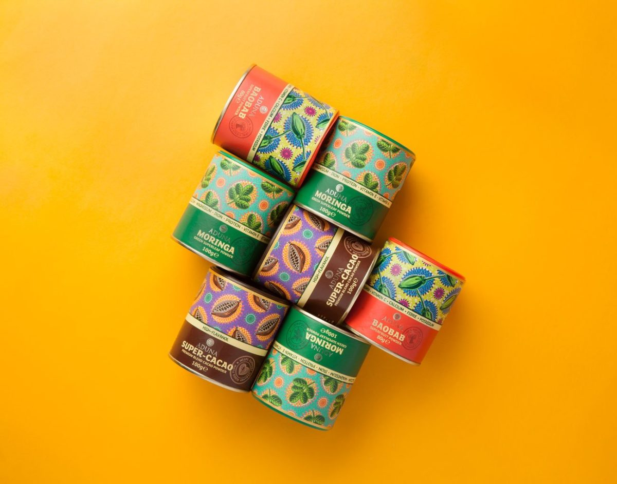 Image of packaging design for Aduna powders
