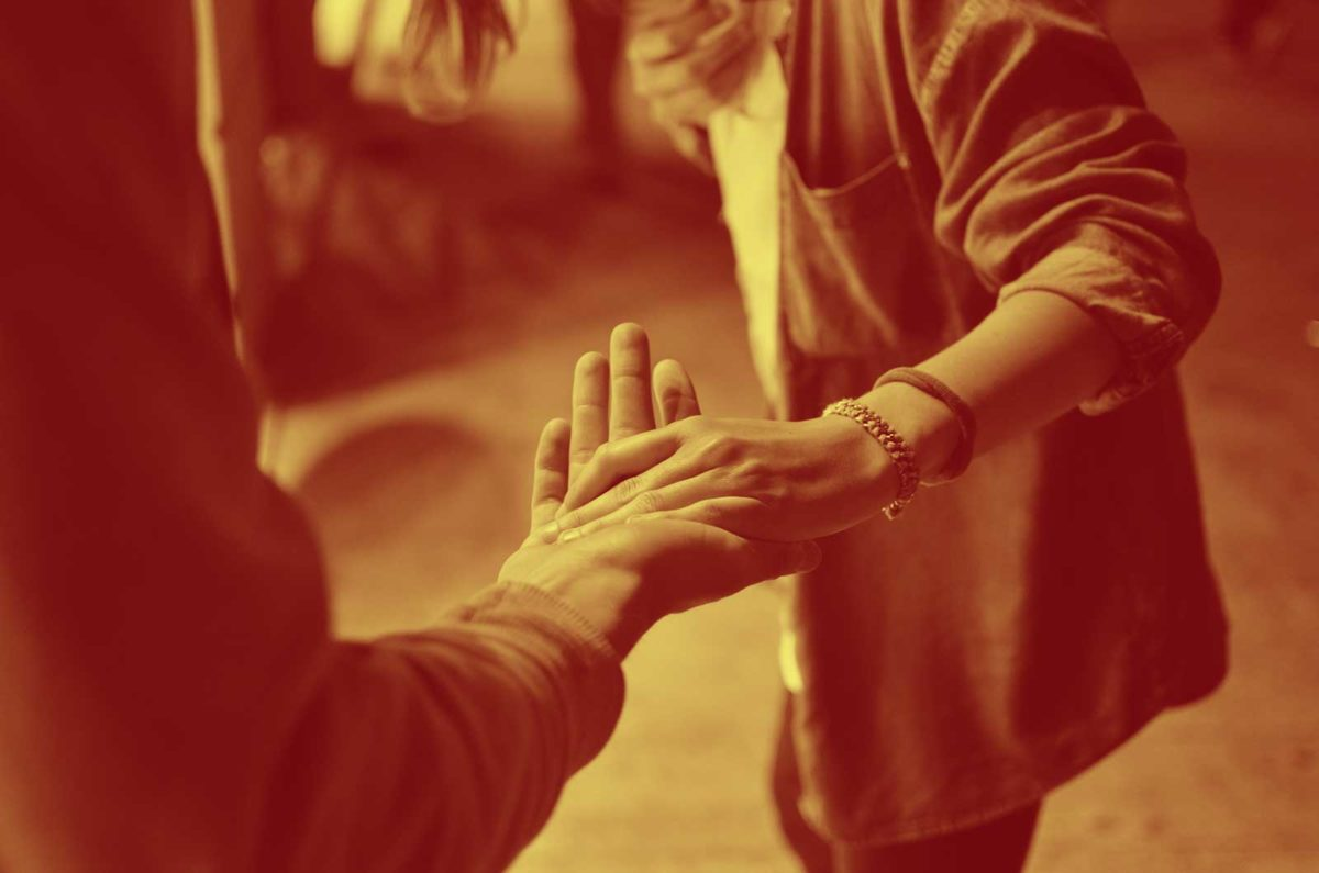 Helping Hands Sepia Image