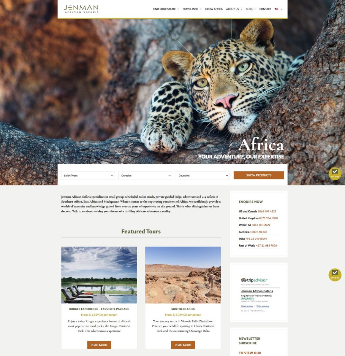 Jenman Safaris Home Page
