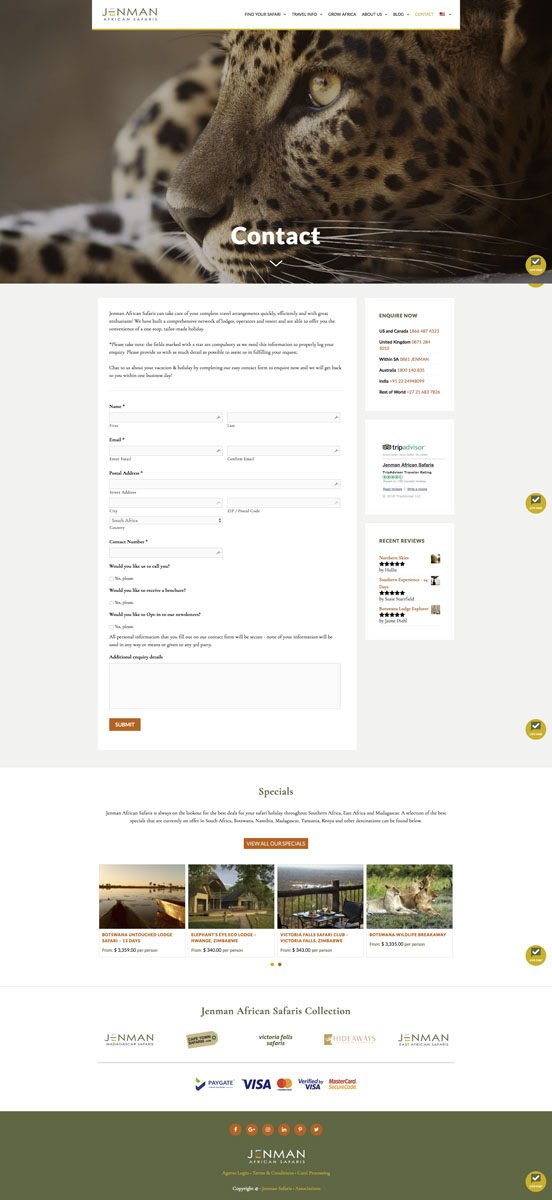 Jenman Safaris Contact Form