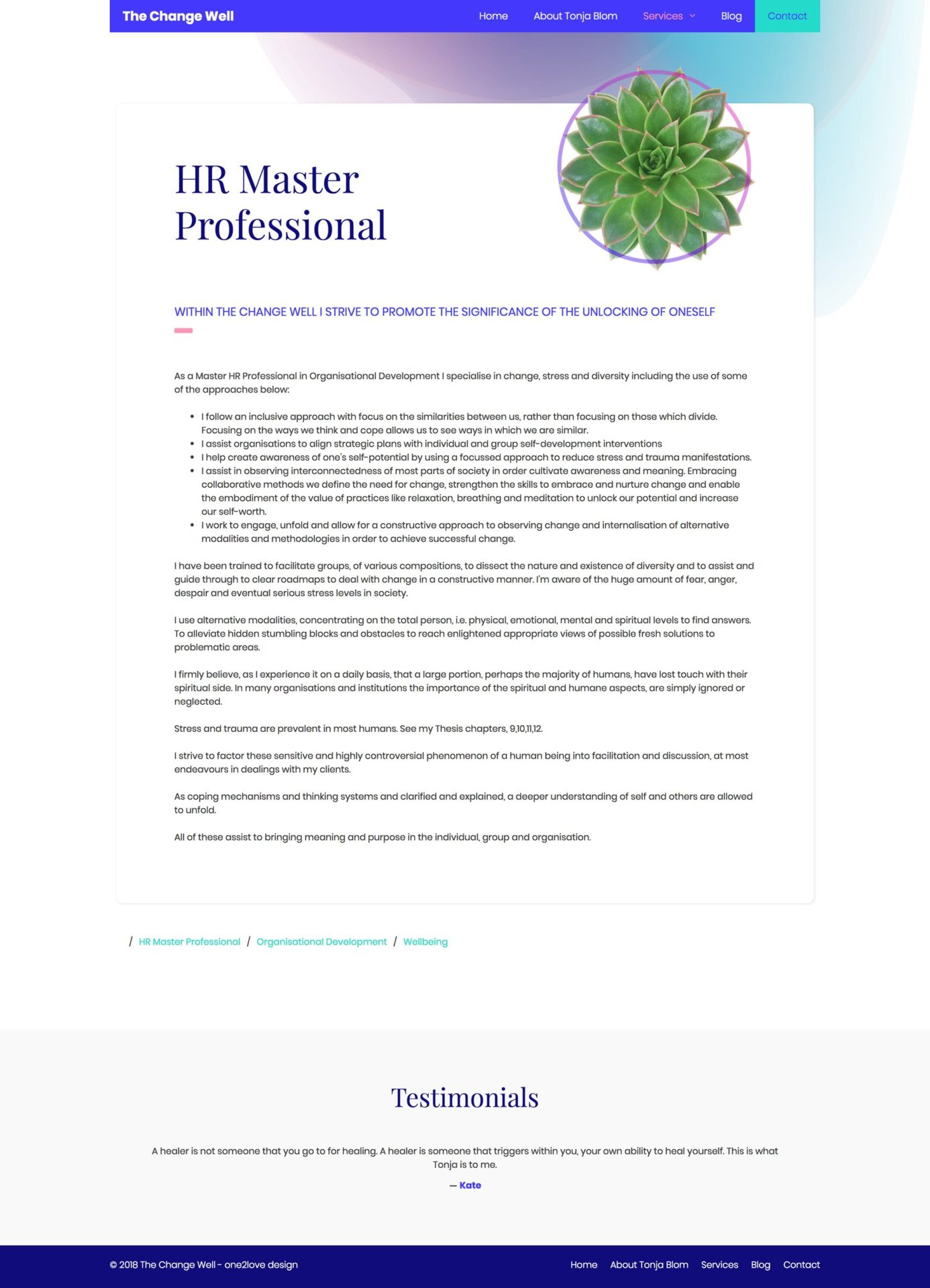 A page about Dr Sonja Blom, as a Master HR Professional in Organisational Development and how she specialises in her area of knowledge