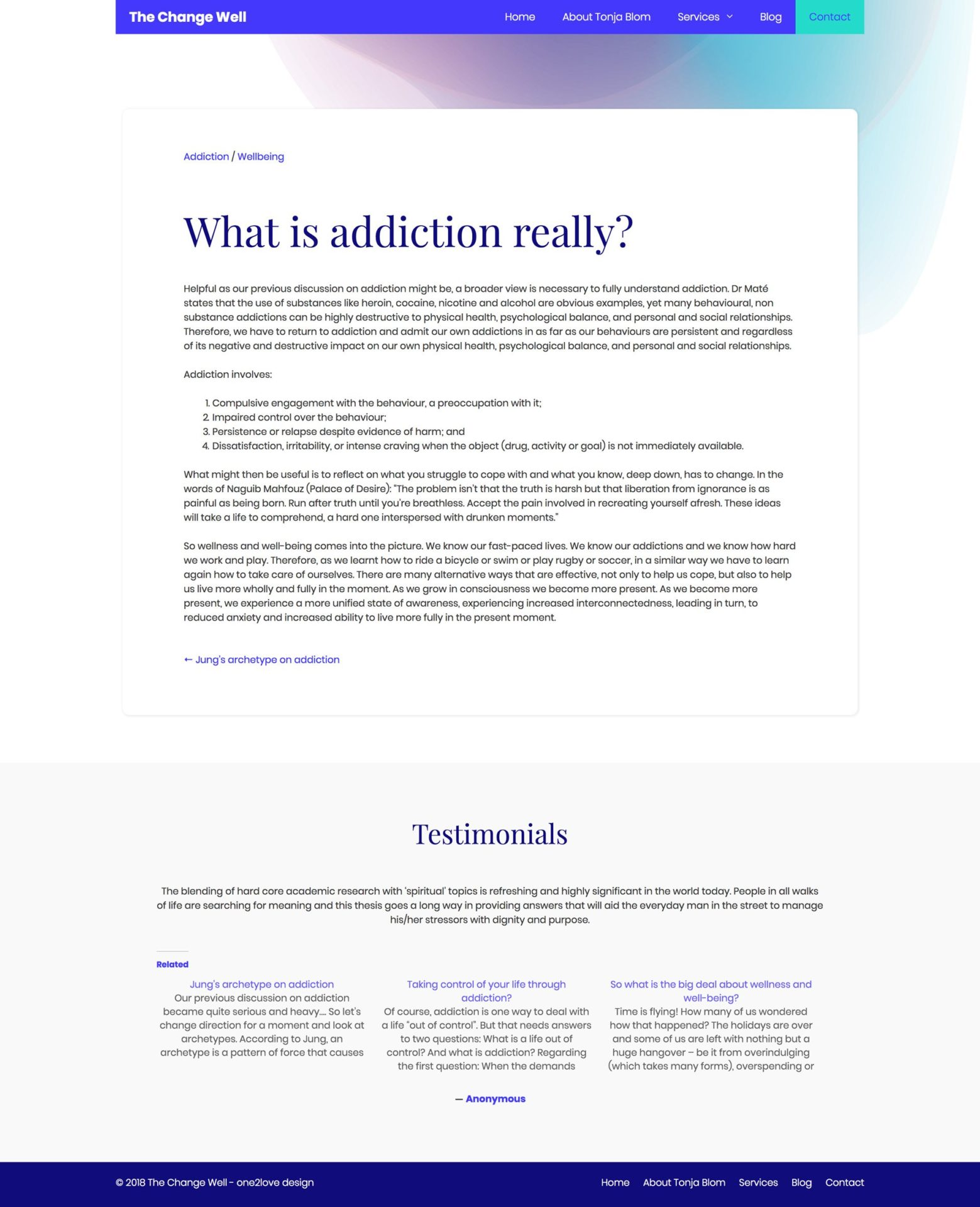 The Change Well Article on Addiction