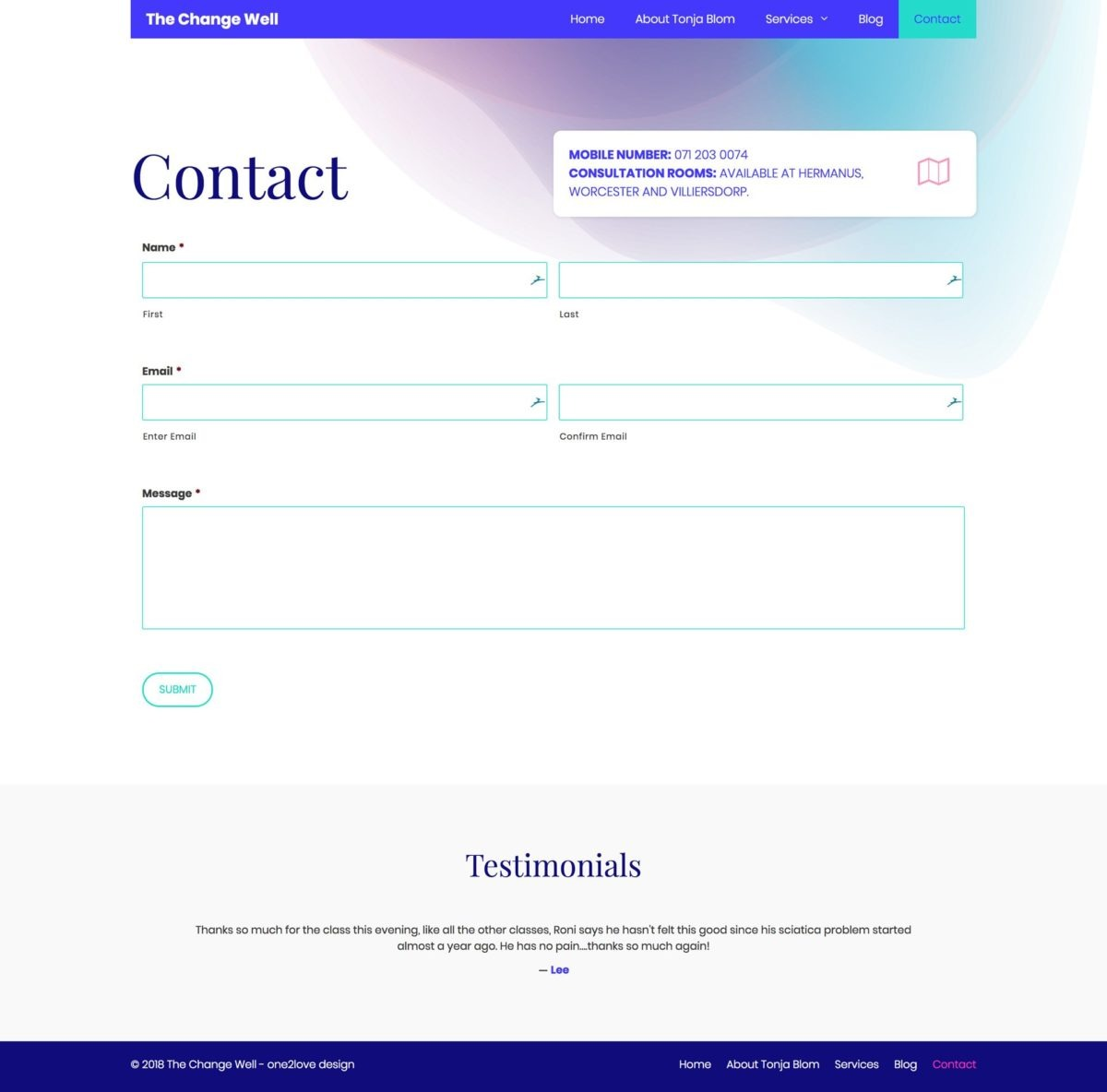 a contact form to allow the visitor to contact the owner